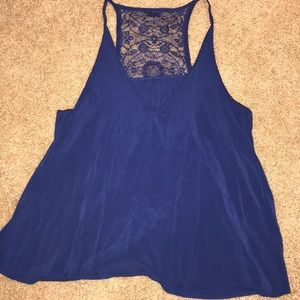 Blue lace blouse tank